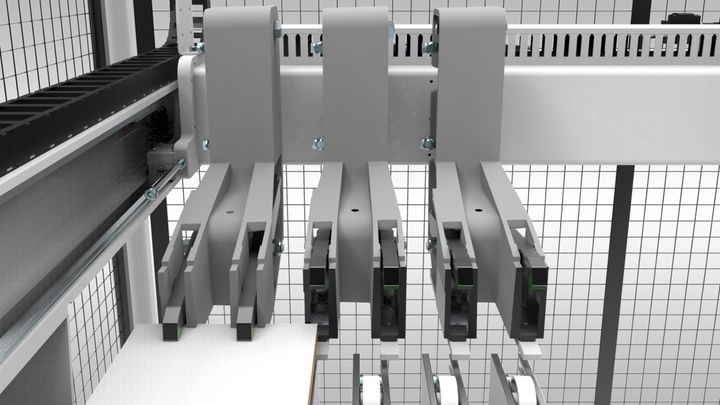The massively built collets are mounted floating on linear guides and intelligently controlled.