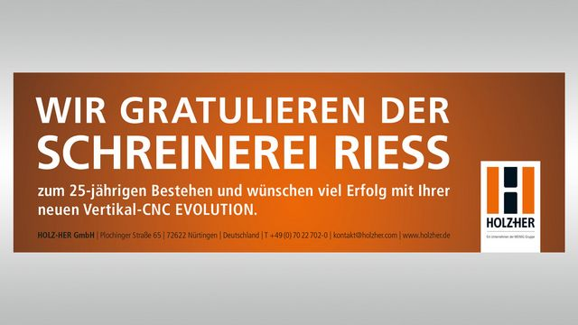 Satisfied reference customer for HOLZ-HER, Riess Carpentry Shop  - Evolution 7405