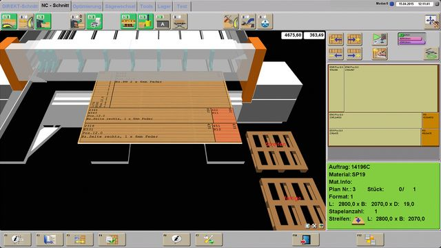 Grafic 3D user interface for intuitive handling and machine process functions